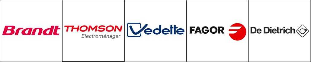 Logo des marques d'électroménagers Brandt, Thomson, Vedette, Fagor et De Dietrich