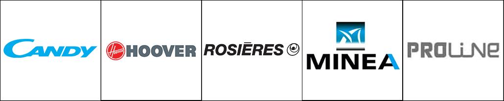 Logo des marques l'électroménager Candy, Hoover, Rosières, Minéa et Proline