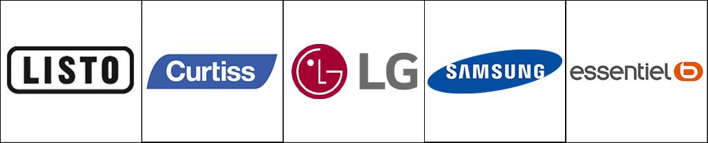 Logo des marques d'électroménager Listo, Curtiss, LG, Samsung et Essentiel B