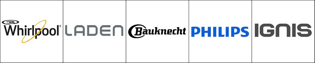 Logo des marques d'électroménager Whirlpool, Laden, Bauknecht, Philips et Ignis